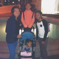 The girls and I in front of the fountain. Aspen didn't want to be in the picture.