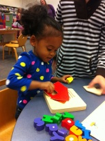 Playing quietly at the library