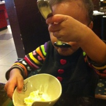 Destroying some ice cream!