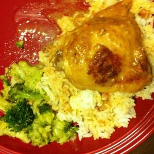 Coq au vin with broccoli