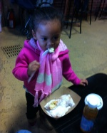 The walnut scone wasn't enough, so she needed some beignets.