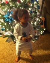 Dancing in front of the tree