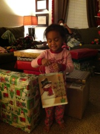 Helping sort gifts