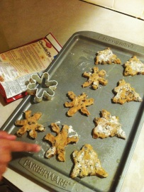 Christmas cookies,: they are supposed to be snowflakes and Christmas trees