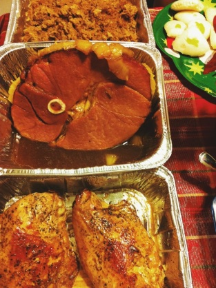 Ham and turkey breasts only cause there's only 4.5 of us.