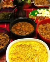 Adobo, candies yams, Gabriel's Macaroni Special, Pancit