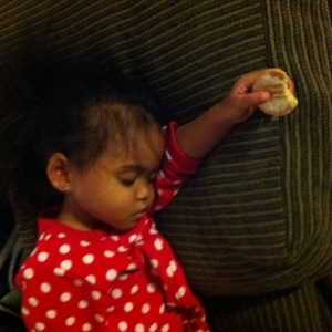 Fell asleep with her darn cookie