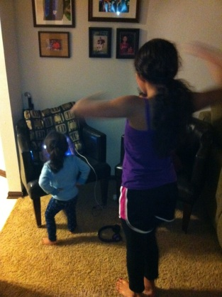 Dancing to the music