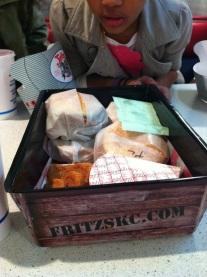 Food tray=yummy burgers
