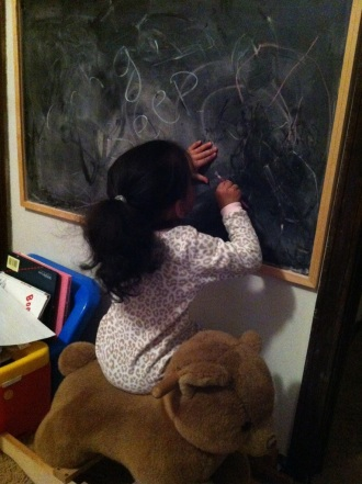 Painting on the chalkboard